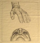 detail: behütete scham, 2006, pencil on paper on board, 33 x 170 cm
