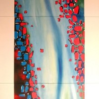 blood in water, 3 peaces, 2009, oil on fibre board, 210x120cm