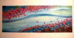 blood in water, 3 peaces, 2009, oil on fibre board, 210x120cm
