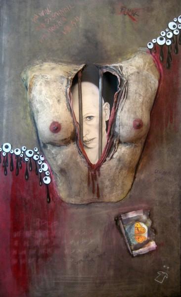 personal prison, 2009, oil and cement on fibre board, 90x120cm