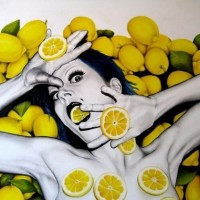 lemon attack, 2008, oil on fibre board, 90x70cm