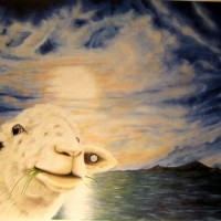 """pag"" and the sheep, 2010, oil on fibre board, 90x70cm"